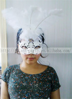 Factory 2014 Sexy Woman White Masquerade Mask Ostrich Feather Dance Mask for all party and festival