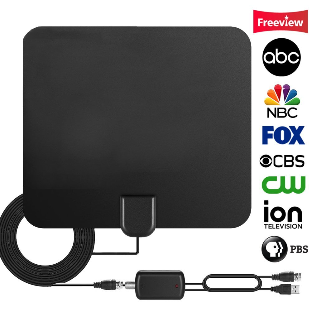 Upgraded 2018 Version TV Antenna,HD Digital Antenna Kit 65 Miles Long Range with Detachable Amplifier Signal Booster for HDTV,Thicker Coaxial USB Cable-Support All Smart TV,1080p 4K Channels