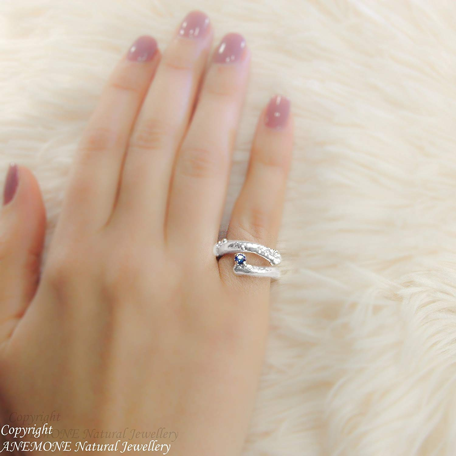 Handmade Twig, Greek Nature Inspired, Semi-precious , 4-prong basket setting, Open, one size, Adjustable Ring, for Midi, Chevalier, Knuckle ring