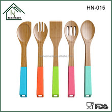 HN-015 colorful kitchen accessories bamboo utensil manufacturer