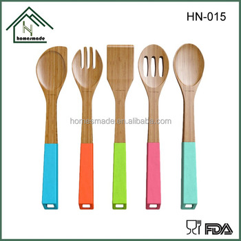Hn 015 Colorful Kitchen Accessories Bamboo Utensil Manufacturer