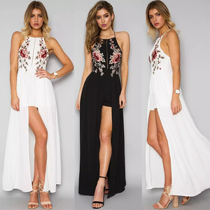 2018 Sexy Backless Beach Long Dress Black White Blue Flower Embroidery Party Dresses Women Split Maxi Dress