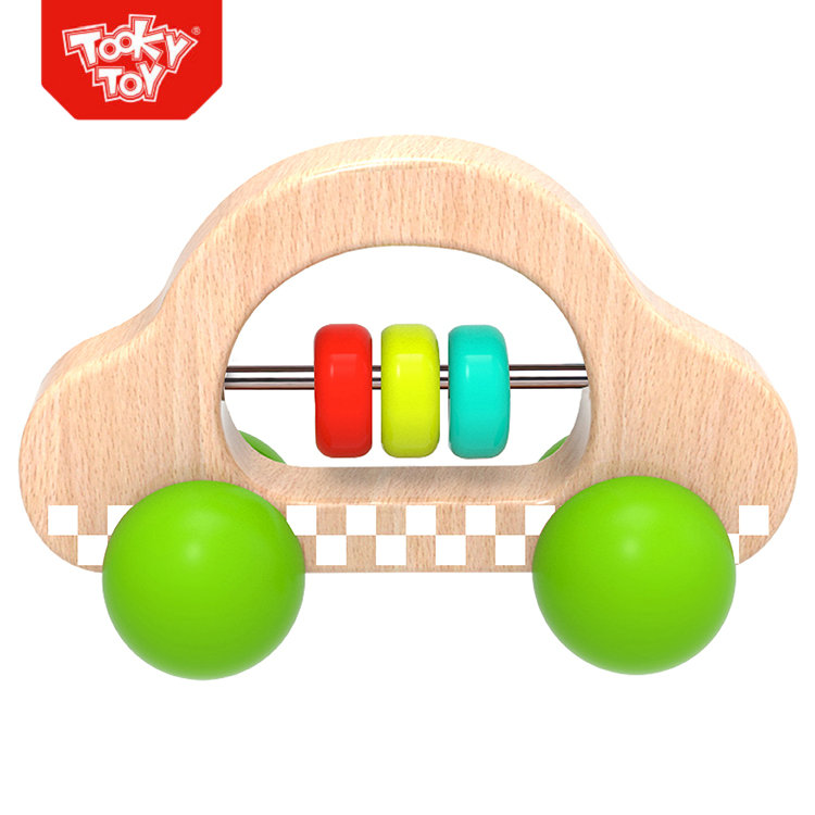 Wooden Cute Green Roller Car Infant toy