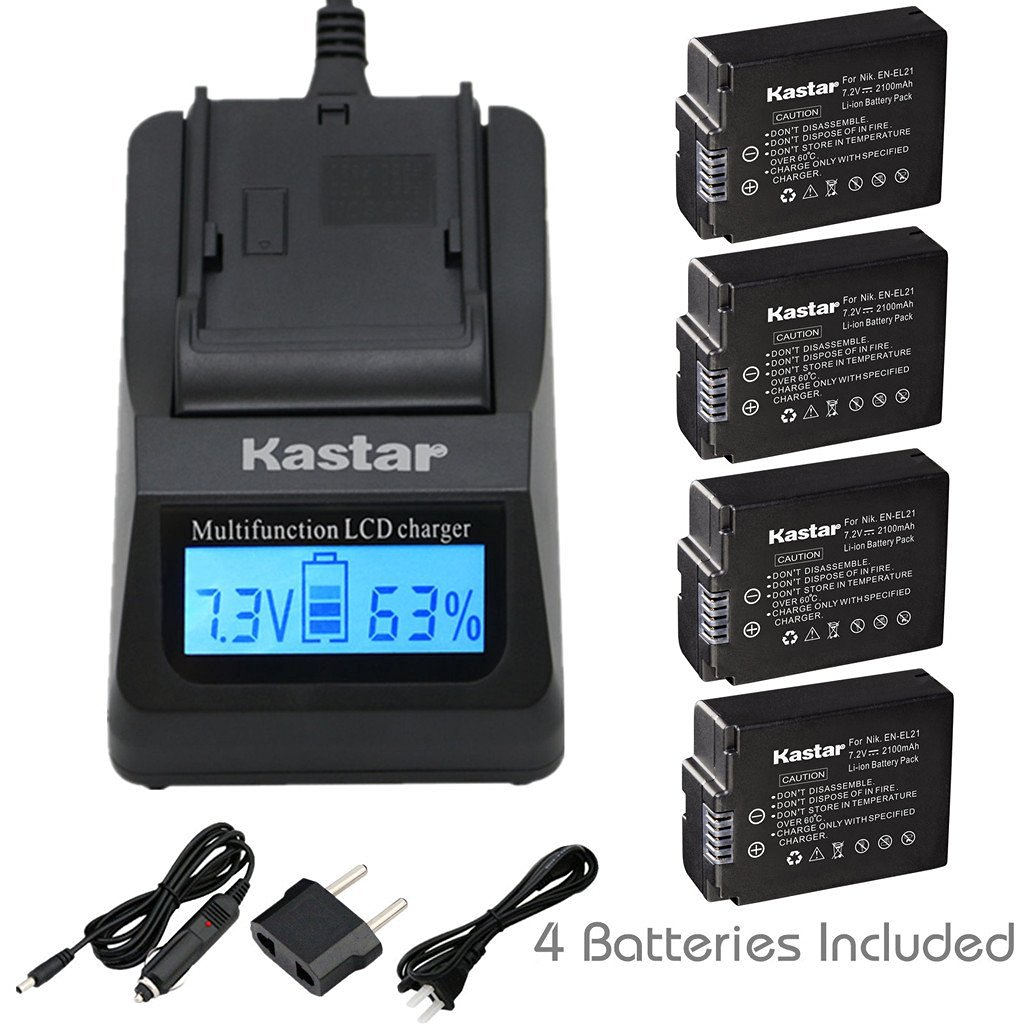 Kastar Ultra Fast Charger(3X faster) Kit and Battery (4-Pack) for Nikon EN-EL21, MH-28 work with Nikon 1 V2 Camera [Over 3x faster than a normal charger with portable USB charge function]