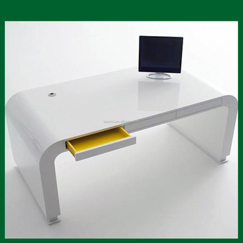 solid surface white high gloss office computer table design buy rh alibaba com high gloss white computer table high gloss computer table