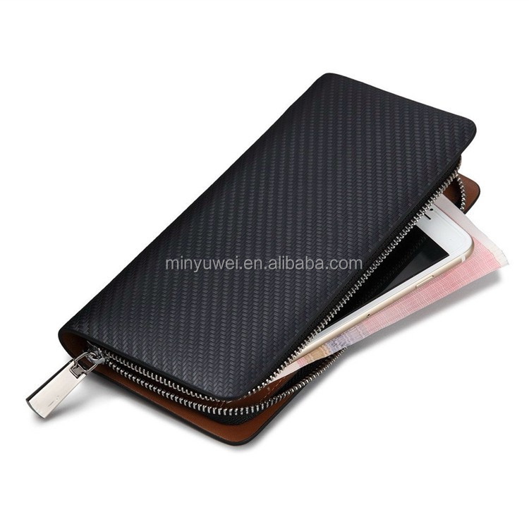 Men Genuine carbon fiber Clutches Designer Male Long Wallets Black Luxury Purse