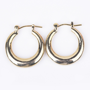 Fashion Jewelry Elegant Pin Catch Gold Plated Round Hoop Ring