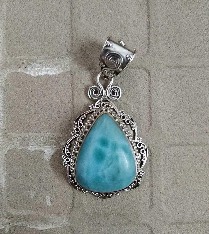 Dominican Larimar Pendant.925 Sterling Silver.Micro Design.Longevity Pendant.Natural Blue Jewelry.Caribbean Larimar Pendant.March Birthstone.Perfect Fine Jewelry.Fashionable Handmade Pendant
