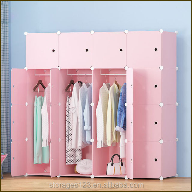 good quality factory price plastic waterproof cute pink popular wardrobe for kids