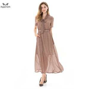 2018 New Summer Women Long Dress Office Lady Bow Brown Striped Maxi Dress