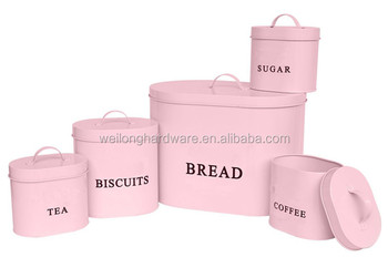 5pcs Set Oval Kitchen Storage Tea Sugar Coffee Canisters In Pink Color