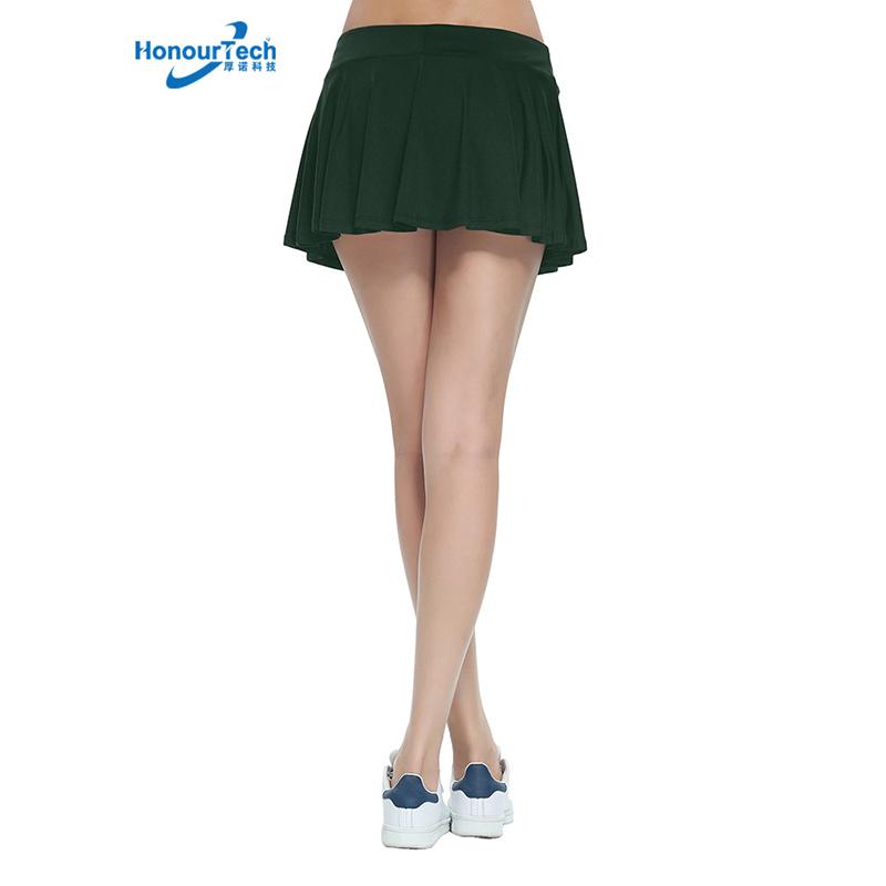 도매 여성 격자 무늬 딥 그린 Pleated 2 레이어 요가 프릴 Skort 운동복 테니스 스커트