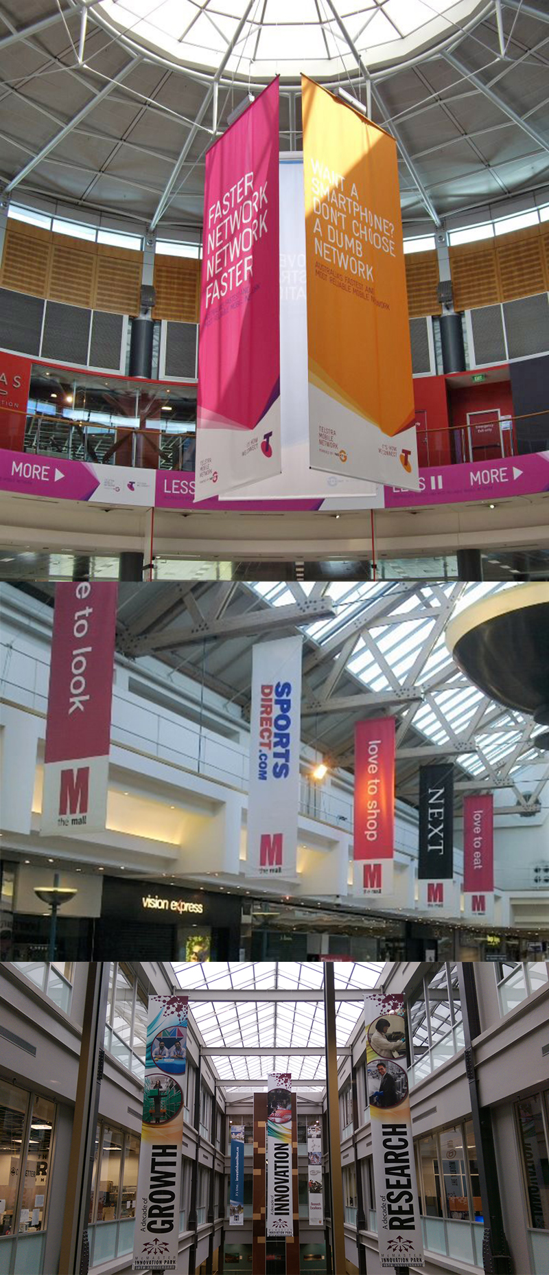 Full color custom printing advertising promotion shop mall hanging banner