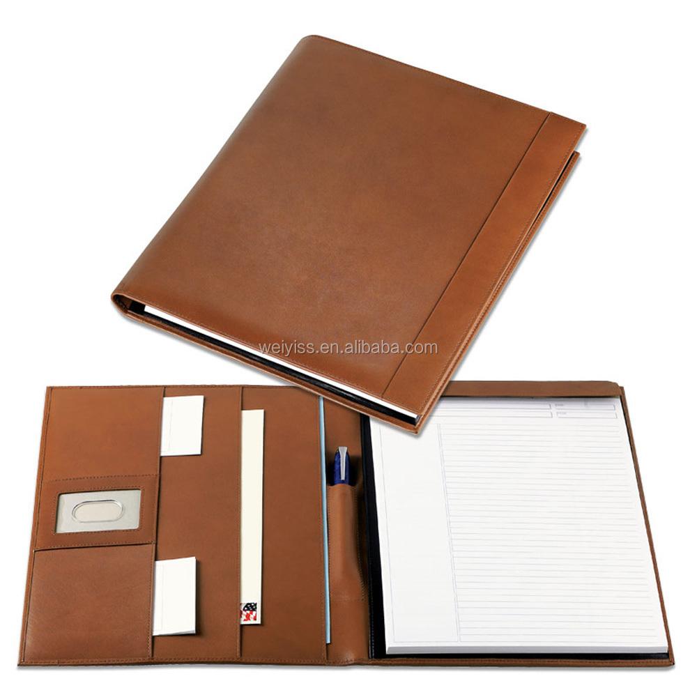 Leather portfolio cases business portfolios folders embossed with - Custom Letter Size Business Portfolio Leather Organizer A4 Size Excutive Document Genuine Leather Portfolio