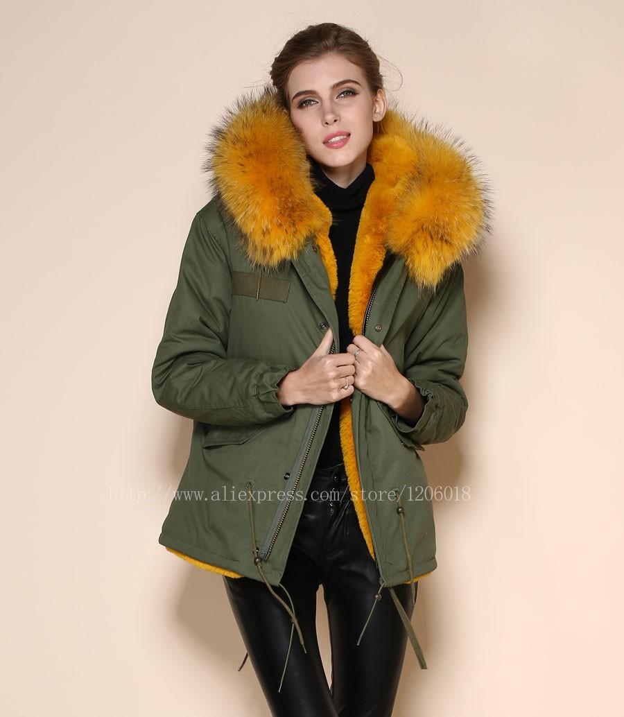 1d3eecd6395b0e Neueste Art kurze Winterarmee gelbe Jacke Mode Parka gelbe Baumwolle Shell  Pelz mischen casual Parka Kurkuma