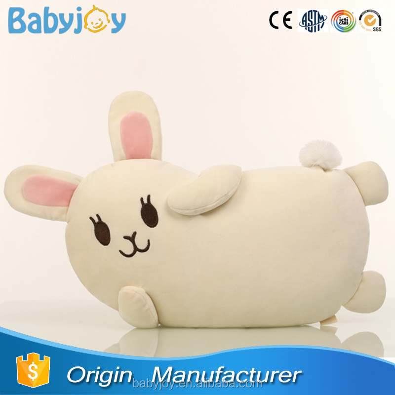 Pillowy Rabbit Stuffed With Down Cotton Beige Throw Cushion