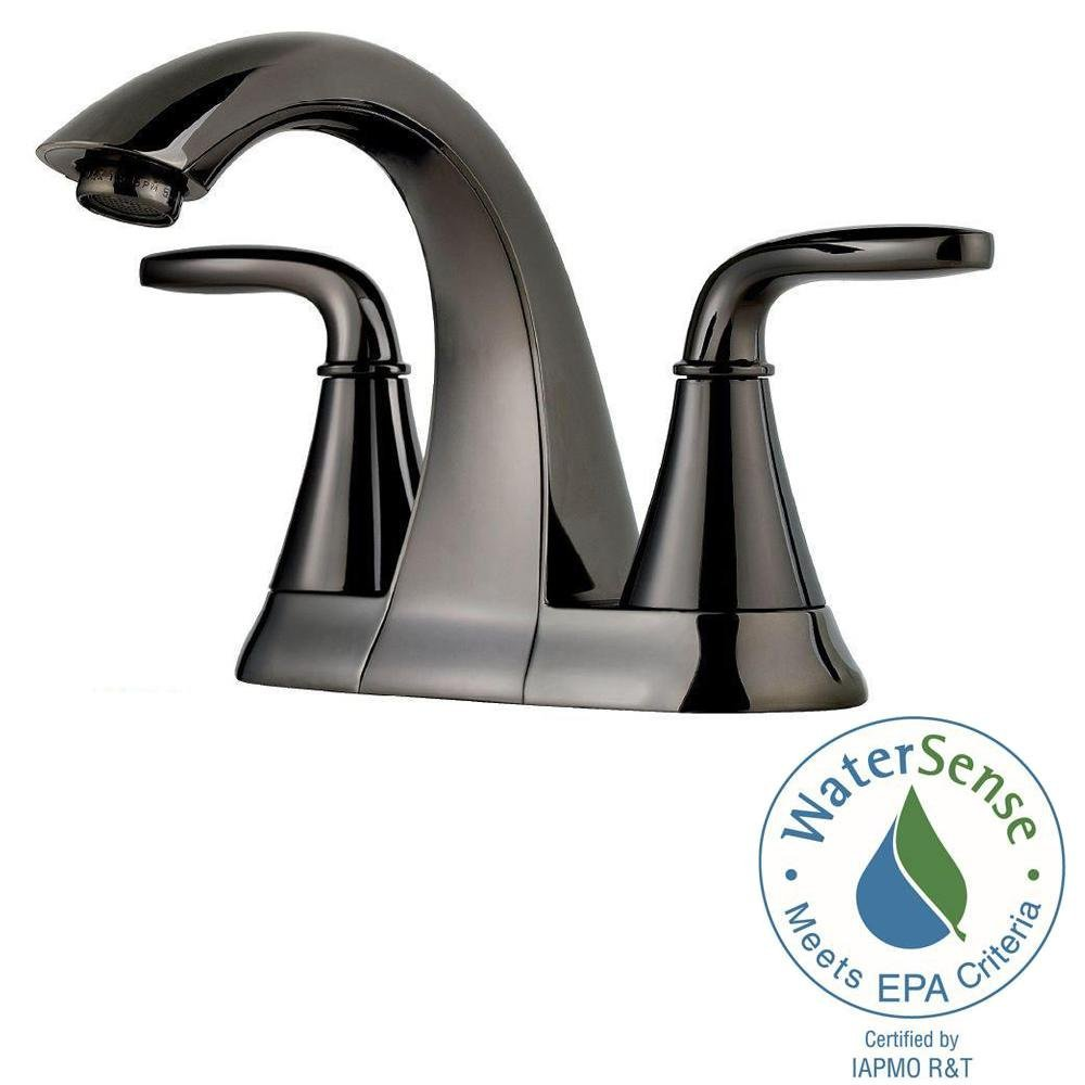 Pfister F-048-PD Pasadena Centerset Bathroom Sink Faucet (Low Lead Compliant), Midnight Chrome