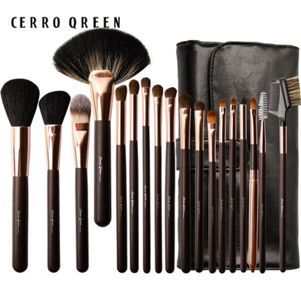 CERROQREEN 18pcs Makeup Brushes Cosmetic Brush Set with goat hair pony hair leather traverl pouch bag case (Golden)