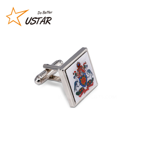 Factory custom metal engraved brand name logo men cufflink no minimum