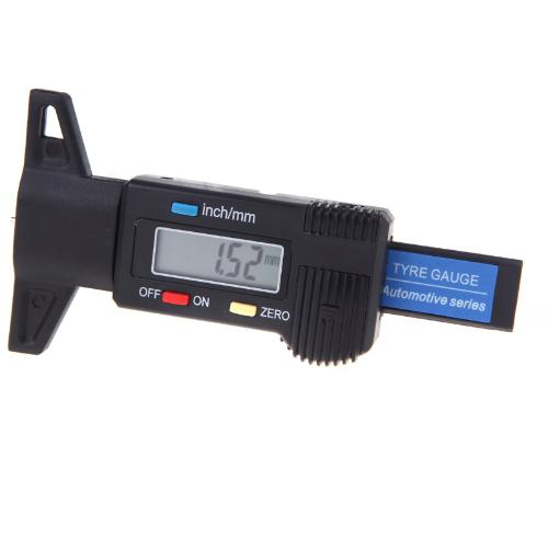 Black Digital LCD Tyre Tire Tread Depth Gauge 0-25.4mm Metric / Inch