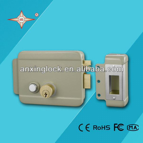 fail safe electronic rim lock with push button for apartment electronic lock