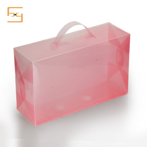 Customized Newest Clear Transparent Plastic Shoe Cover Box with Handle