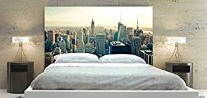 New York Skyline in the Daytime Theme Headboard Panel for Bed, Square Shape Head of a Bedstead, Available in Sizes (Queen: 66 x 36 inch)