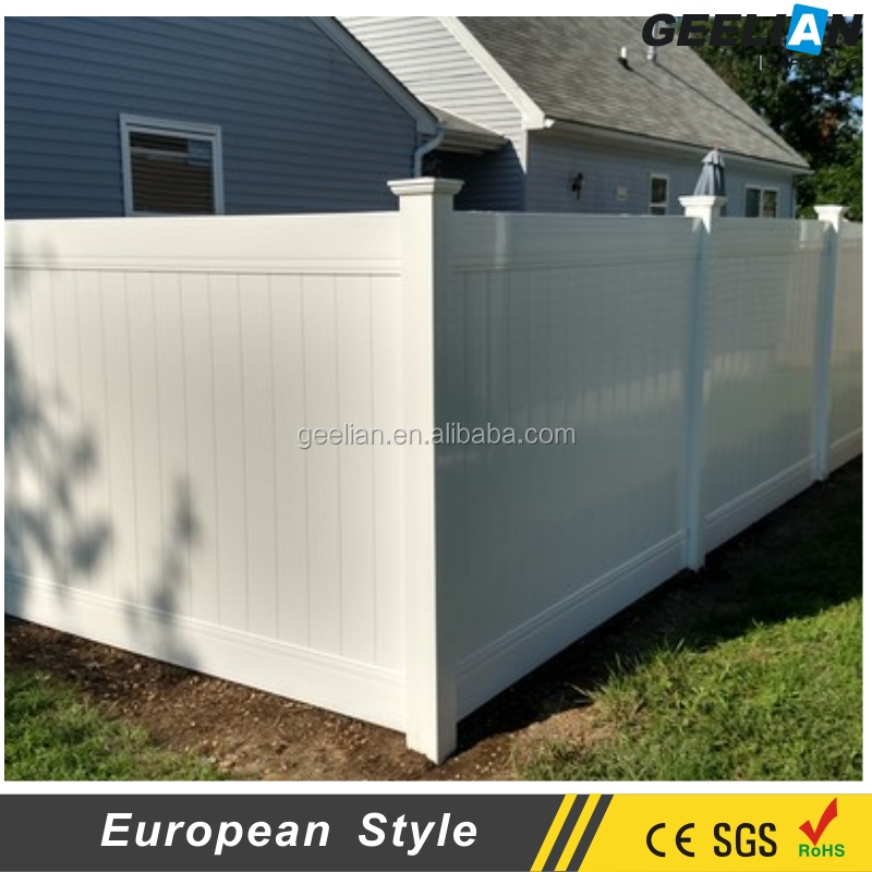 Hot Sale White Color PVC Solid Panel Fence, Private Fence, 6 ft vinyl Privacy Fence