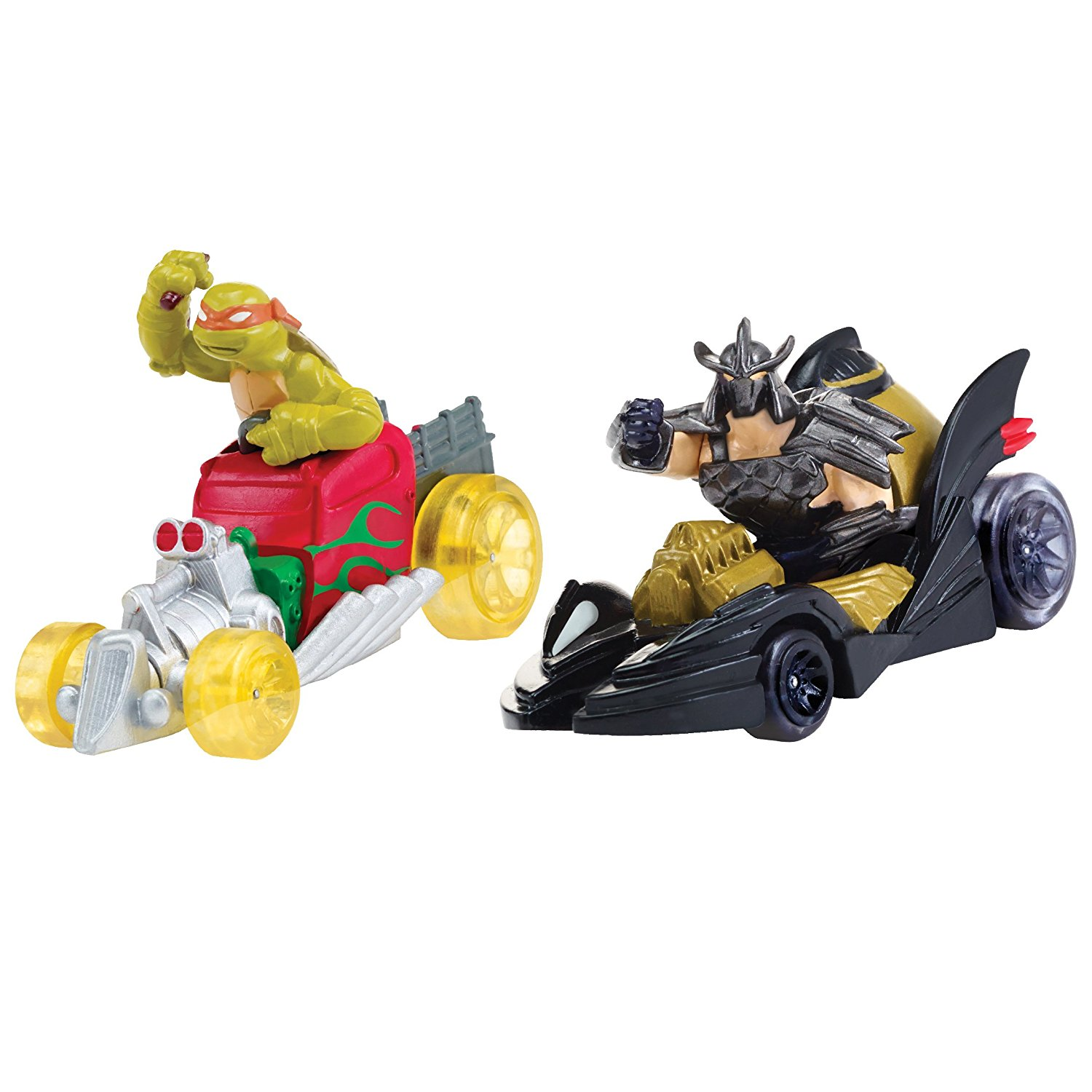 Teenage Mutant Ninja Turtles T-Machines Michelangelo in Hot Rod and Shredder in Shreddermobile Diecast Vehicle (2-Pack)