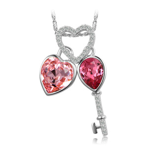 44567 xuping lucky key necklace jewelry, heart necklace Crystals from Swarovski women imitation jewelry