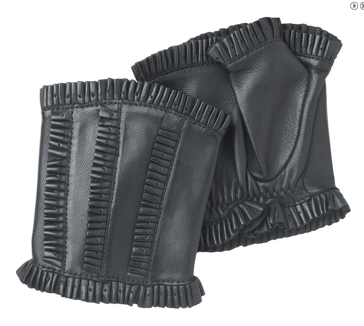 Ruffles-unlined leather fingerless black handwarmer gloves