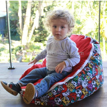 Panda Base Baby Bean Bag Kids Toddlers Beanbag Sofa Sleeping Beds With 2 Convertible Tops
