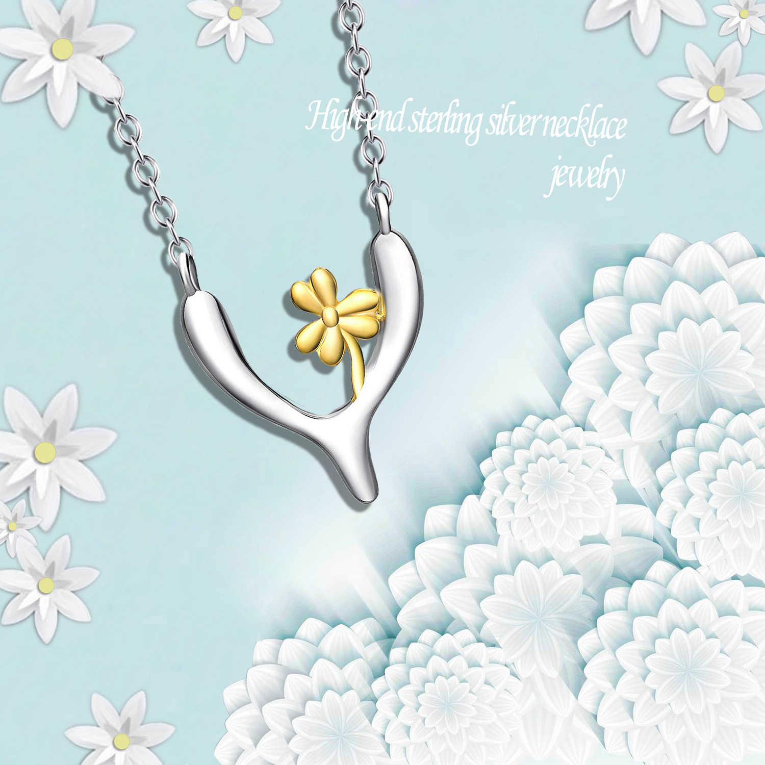 925 sterling silver lucky flower pendant necklace