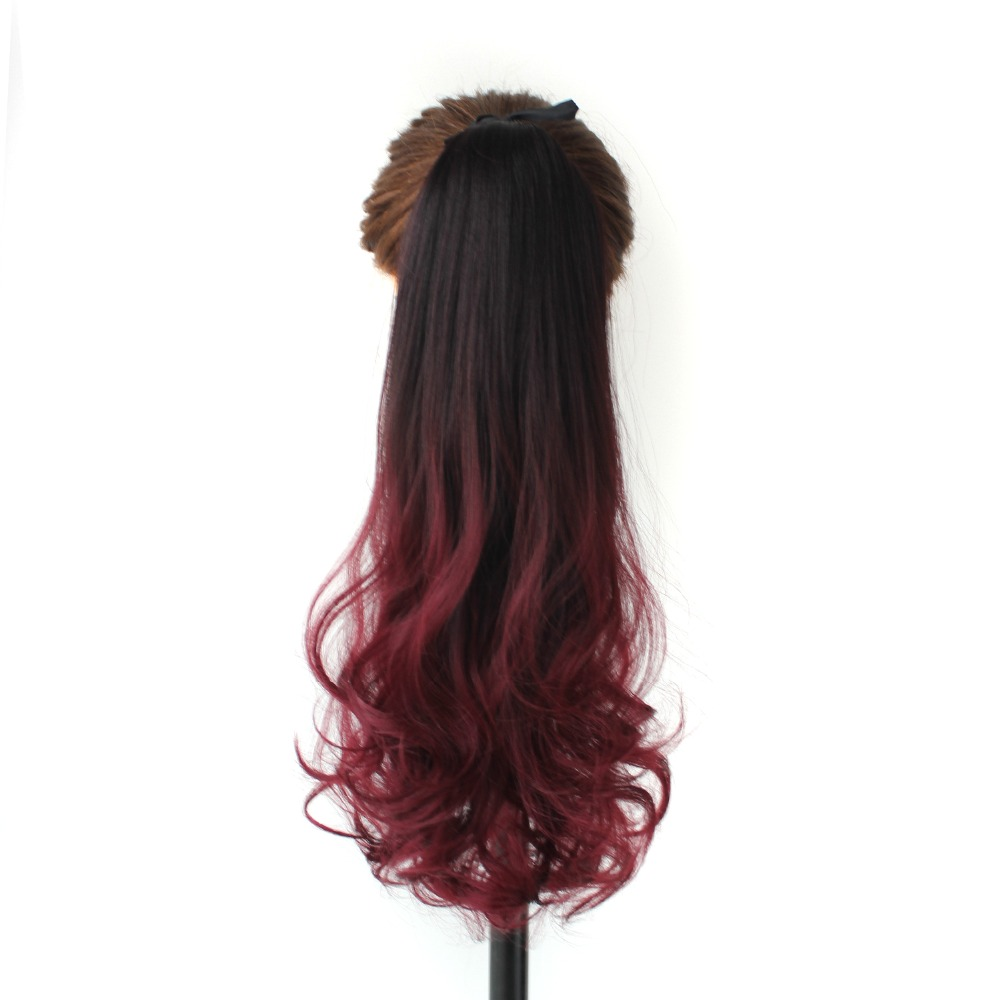 Fashion Ombre Color Dark Brown and Red Color Long Wavy Synthetic Hair Drawstring Ponytail Hairpieces for Women