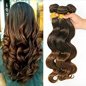 Wigsforyou@Brazilian Human Hair Ombre Hair Extensions Body Wave Mixed Color 7A Grade 1 Bundles/lot 50g Total #T4/30