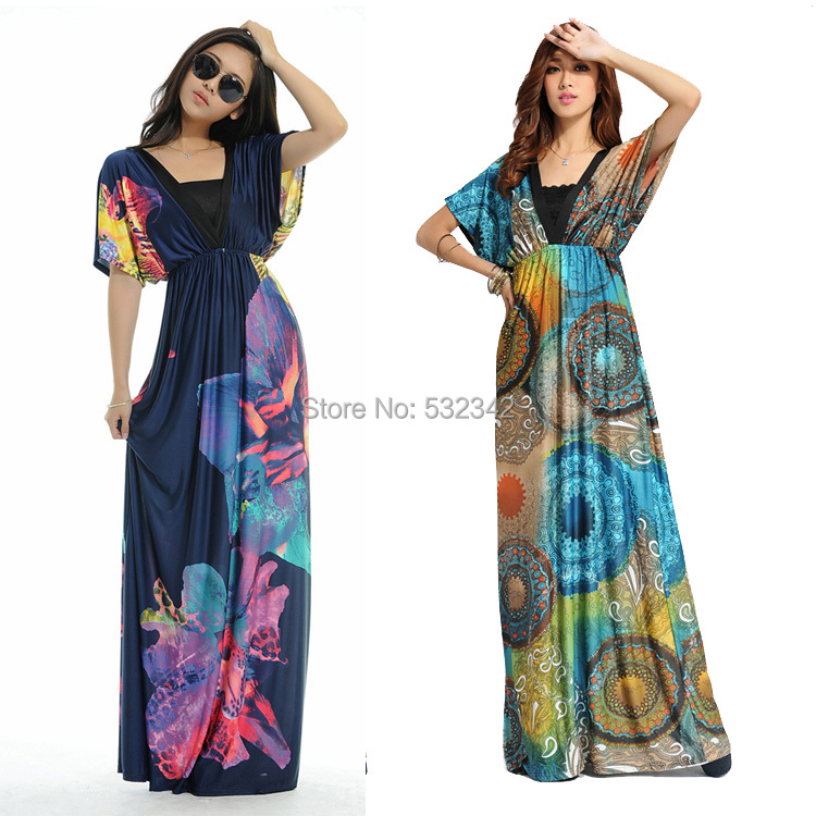 Get Quotations · 2015 Fashion Summer V-Neck Bat Sleeve Floral Print Dress  for Women Plus Size Bohemia 921ec6451538