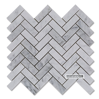 Herringbone Bianco Carrara Marble Mosaic Bathroom Floor Tile