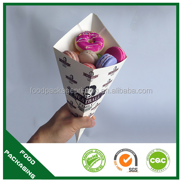 whosale cone shaped packaging sweet crepe holder custom desing egg waffle cone