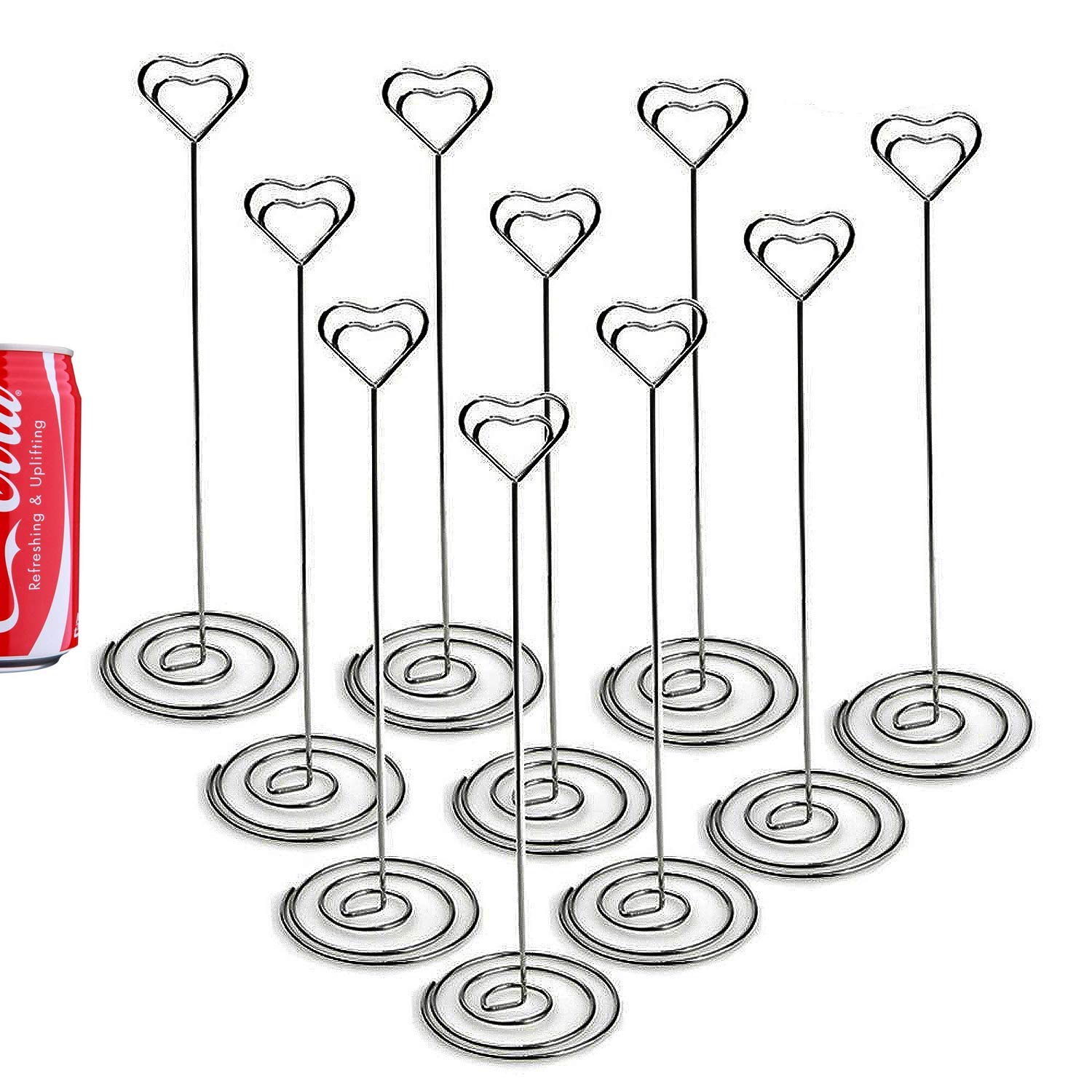 TOOGOO 20 Pack 8.75 Inch Tall Place Card Holders Creative Photo Holder Rose Gold Metal Funny Heart Clip Desktop Decoration Memo Holder Stand Tabletop Card Holder