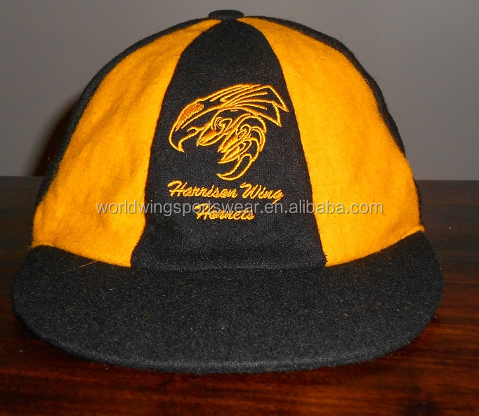 Mens custom black and amber panels polyester embroidered baggy cricket cap