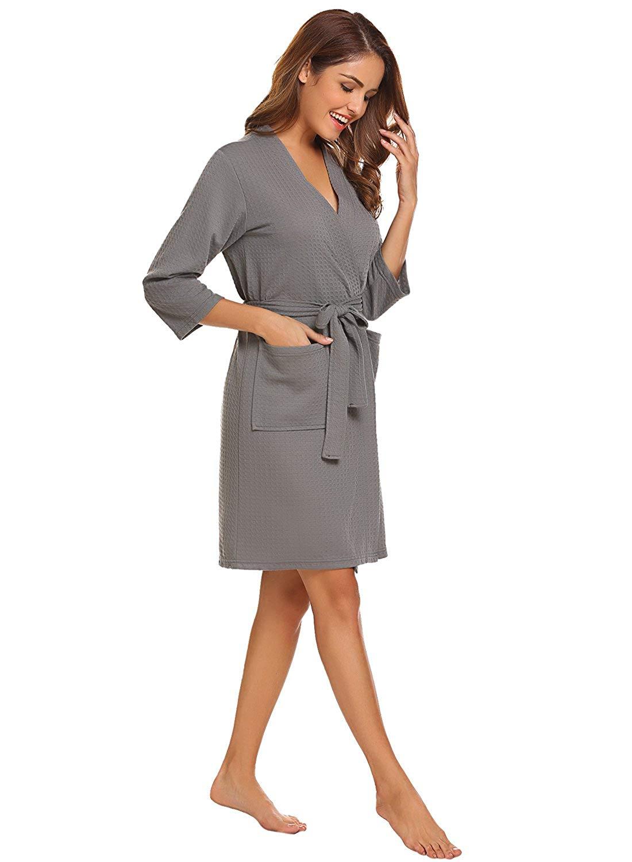 6eeb4b66b92 Get Quotations · LOMON Robes for Women Sleepwear Waffle Kimono Robe  Loungewear Bathrobes Short