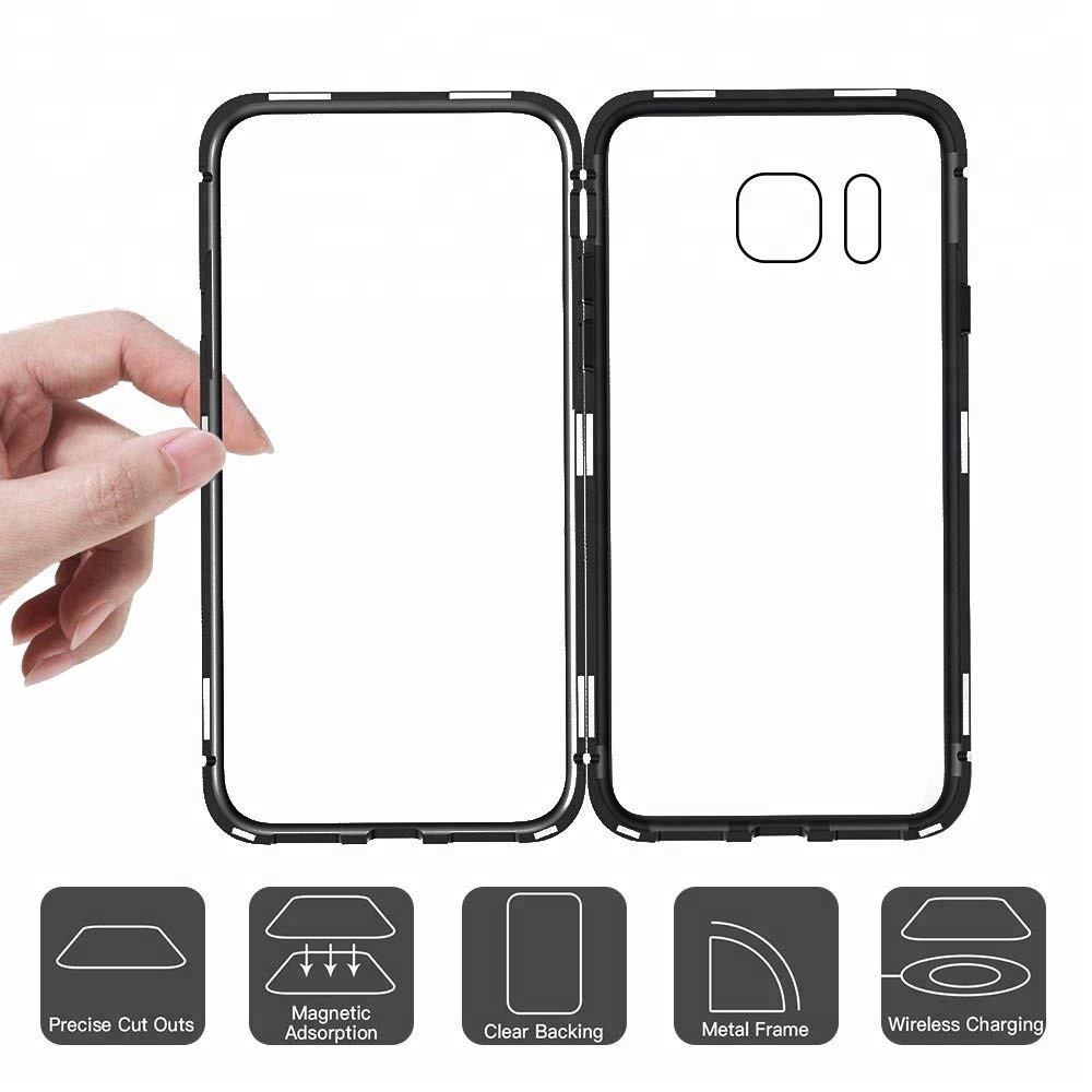 Magnetic Caseadsorption Aluminum Bumper Tempered Glass Back Cover Samsung Note 4 Mirror Backcase With Metal Aluminium Black Case Adsorption For 9