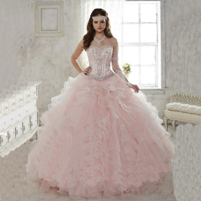 2015 Light Pink... Light Pink And Gold Quinceanera Dresses