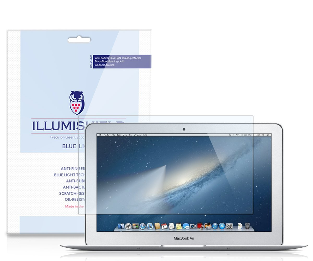 """iLLumiShield – Apple MacBook Air 13"""" (2013) (HD) Blue Light UV Filter Screen Protector Premium High Definition Clear Film / Reduces Eye Fatigue and Eye Strain – Anti- Fingerprint / Anti-Bubble / Anti-Bacterial Shield - Comes With Free LifeTime Replacement Warranty – [1-Pack] Retail Packaging"""