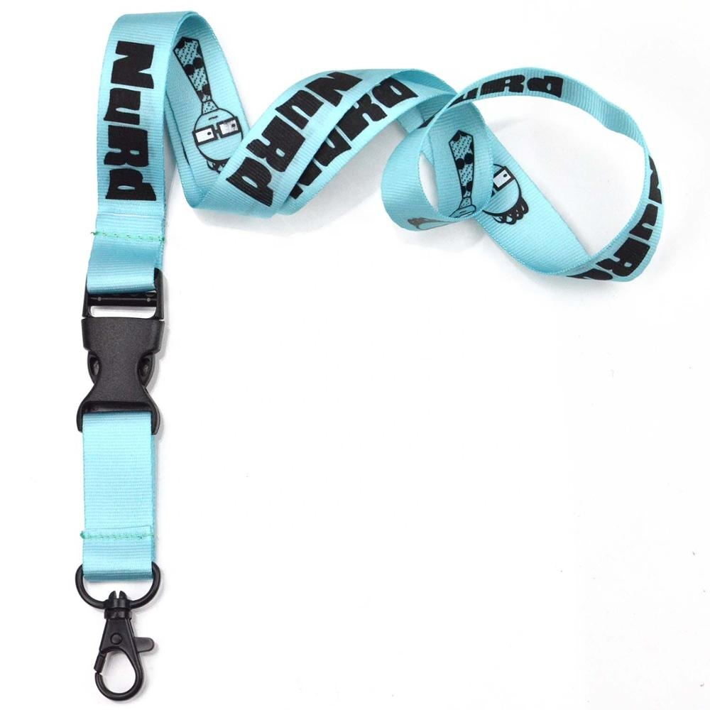 Custom logo polyester detachable clip neck children's lanyards for keys