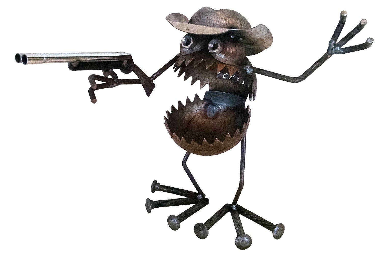 Buy Welded Metal Art Gnome Be Gone Desk Bucket Fisherman