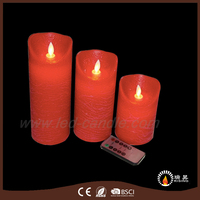 New products remote control parraffin wax pillar 3 set led candle