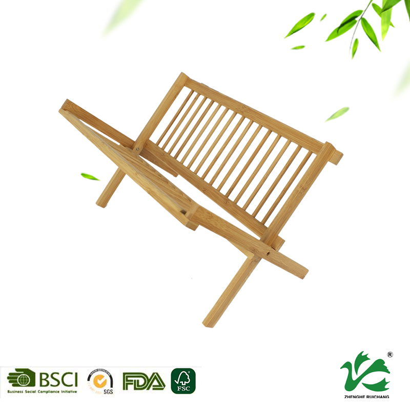 Kitchen cooking dish drying bamboo wooden dish rack