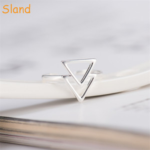 bulk sale fashion small open ring for women jewelry triangle 925 silver ring (SSA-072)