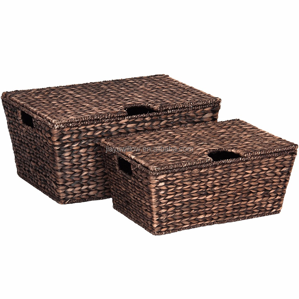 Set Of 2 Water Hyacinth Tapered Storage Basket Chests W/ Attached Lid Handle Brushed